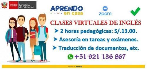clases virtuales de inglés - s/.13 por 2 horas