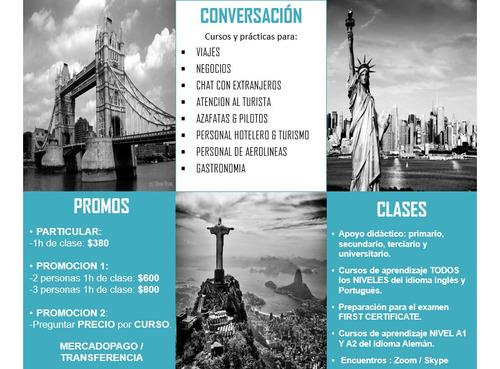clases y cursos (inglés, portugués y alemán)