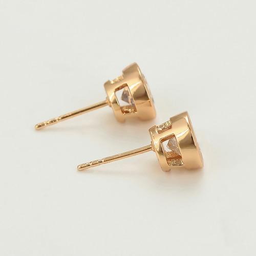 clásicos broqueles de oro 18k con zirconias corte diamante