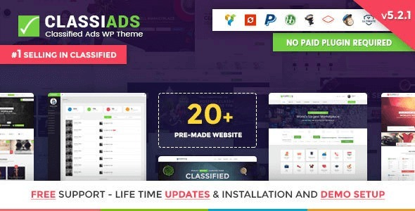 Classiads 5.2.2 - Anúncios Classificados Wordpress Tema + De - R$ 59 ...