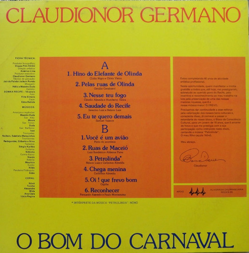 claudionor germano o bom do carnaval frevo lp polydisc 1987