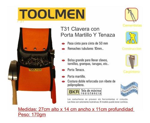 clavera constructor carpintero porta martillo toolmen t31
