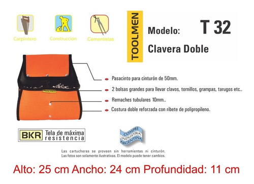 clavera doble para albañil constructor toolmen t32