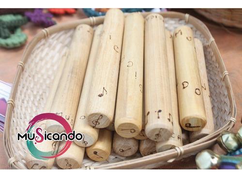 claves de madera encerada y pirograbada, musicando editorial