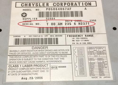 claves o codigo de radio para dodge chrysler
