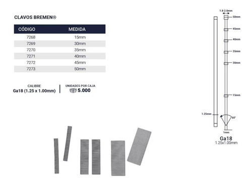 clavo para clavadora neumatica 15mm x5000u calibre 18 bremen