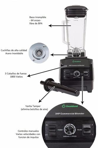 cleanblend: licuadora comercial 3hp - 1800 vatios