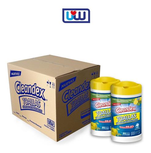 cleandex limón toallas para superficies, caja 6pz