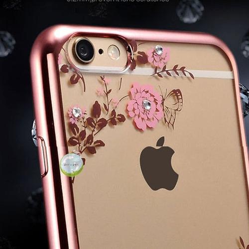 clear case iphone 6s plus / 6 plus flowers diamond gold rose