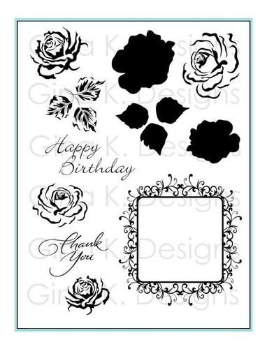 clear stamps- frame and flowers 2