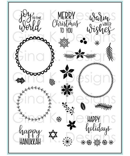 clear stamps- holiday wreath builder
