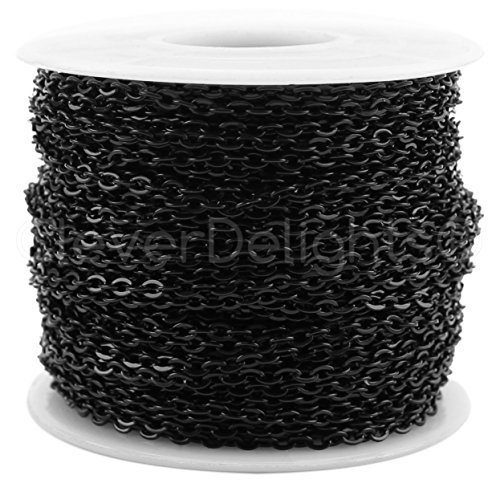 cleverdelights cable chain spool  100 feet  dark black color