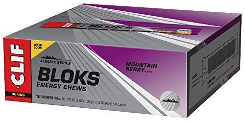 clif bloks - energía chews - mountain berry - sin caffeine