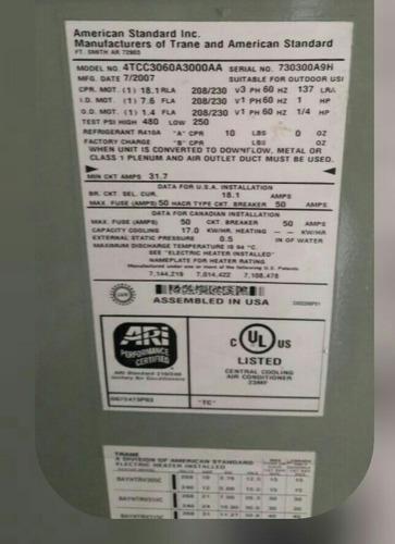 clima central,5 ton,trane,alta eficiencia,ref410,220v,