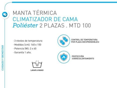 climatizador electrico cama frazada 2 plazas temporizador manta termica bajo consumo - seguridad garantizada - garantia