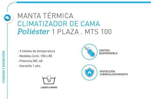 climatizador gama frazada 1 plaza manta calienta cama temperaturas (74) bajo consumo - seguro - electrica - garantia -