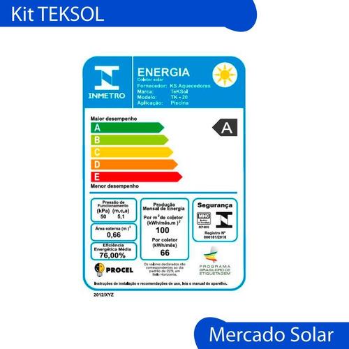 climatizador piscina solar completo kit pileta 32 m2 teksol