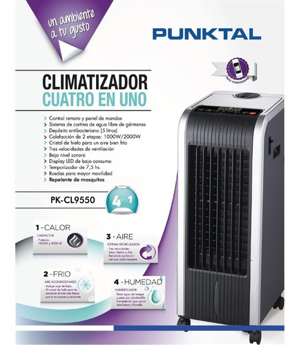 climatizador punktal 4en1 calorfrío ventilador humidificador