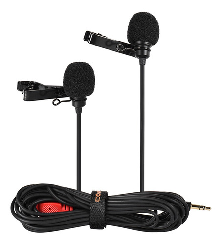 clip-on de microfone de lapela de lavalier de cabeça dupla