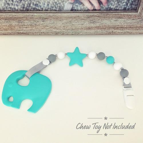 clip para chupon itybity 2 piezas -azul/blanco/turquesa/gris