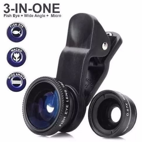 clip universal lente 3 en 1 celular o tablet fish eye wide +