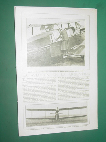 clipping 1 pg. aviacion argentina foto avion air-co 4