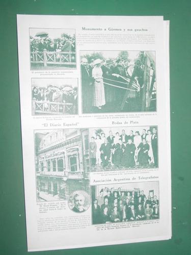 clipping 1/2 pg monumento a guemes y sus gauchos en lanus