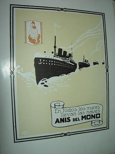 clipping antigua publicidad anis del mono mares barcos
