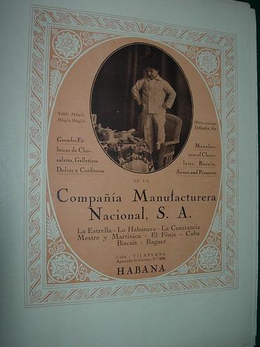 clipping antigua publicidad cia. manufacturera nacional cuba