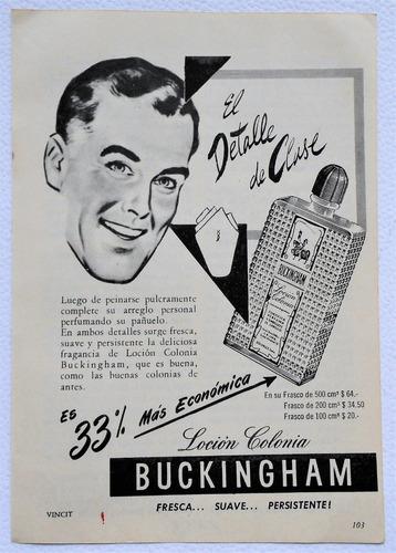 clipping antigua publicidad colonia buckingham año 1956