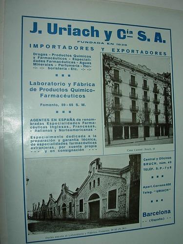 clipping antigua publicidad farmacia drogas uriach españa