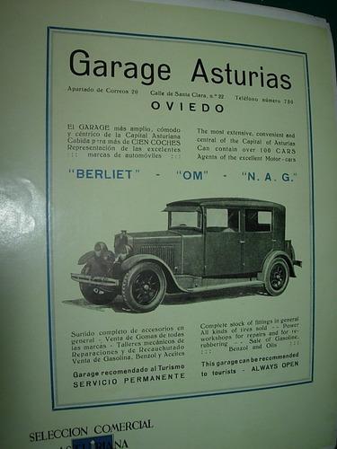 clipping antigua publicidad garage asturias españa automovil