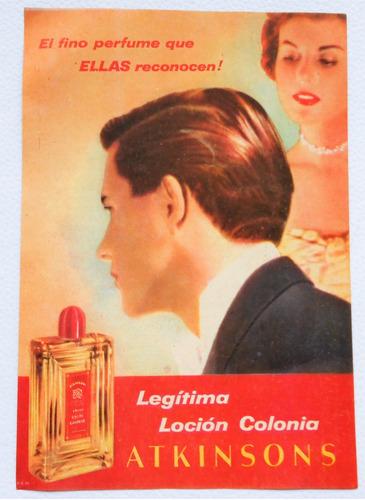 clipping antigua publicidad locion colonia atkinsons 1956