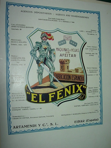 clipping antigua publicidad maquinas hojas afeitar el fenix