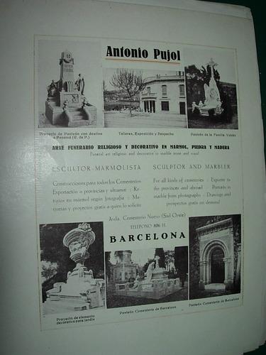 clipping antigua publicidad pujol arte funerario marmol
