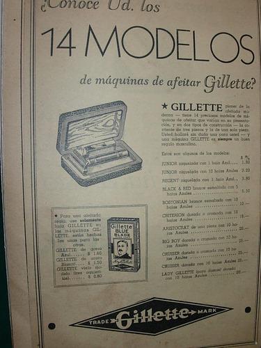 clipping antiguo publicidad gillette 14 modelos maquinas