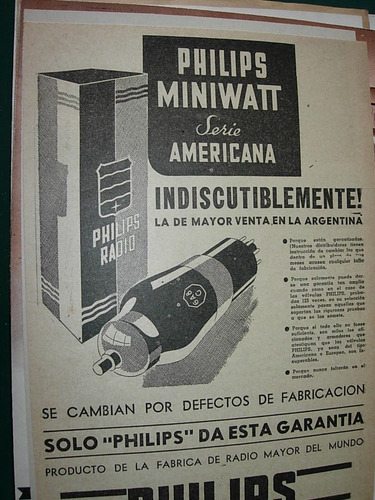clipping antiguo publicidad lamparas philips serie americana