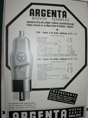 clipping antiguo publicidad lamparas philips serie argenta