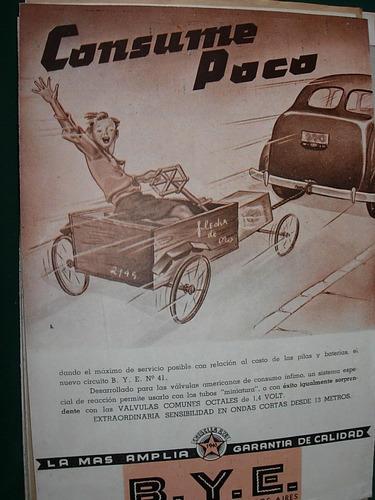 clipping antiguo publicidad radio lamparas b.y.e. mod 1