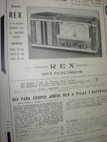 clipping antiguo publicidad radio rex daxon radio bs. as.