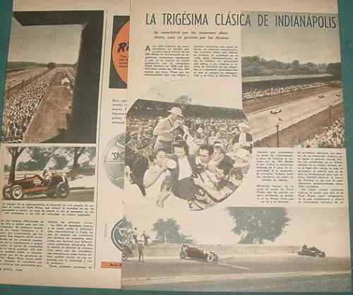 clipping autos indianapolis 1946 russo nalon robson devore