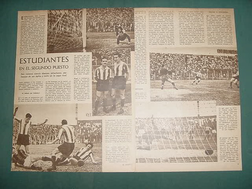 clipping futbol 1942 estudiantes de la plata san lorenzo 3pg