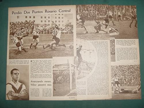 clipping futbol 1942 rosario central velez sarsfield 4 pgs