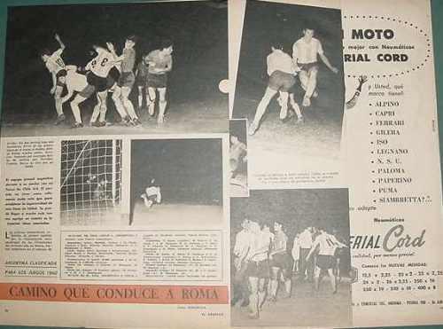clipping futbol 1959 argentina chile clasificacion olimpiada