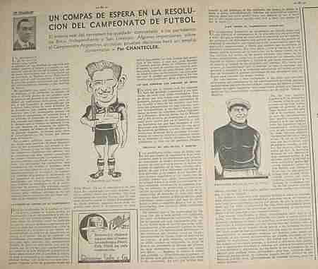 clipping futbol chantecler nota campeonato futbol 1935
