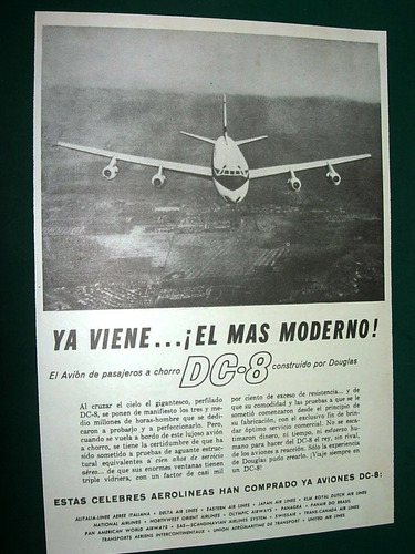 clipping publicidad antigua aviones douglas dc-8 aerolineas