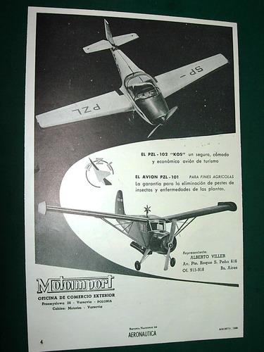 clipping publicidad antigua aviones pzl motoimport viller