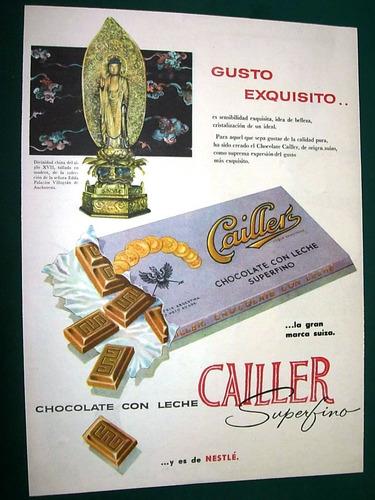 clipping publicidad antigua chocolate cailler nestle