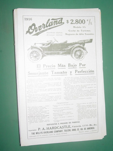 clipping publicidad automoviles overland willys overland cia