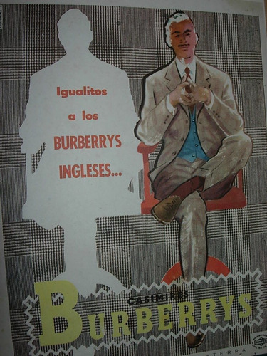 clipping publicidad casimires burberrys ingleses moda ropa